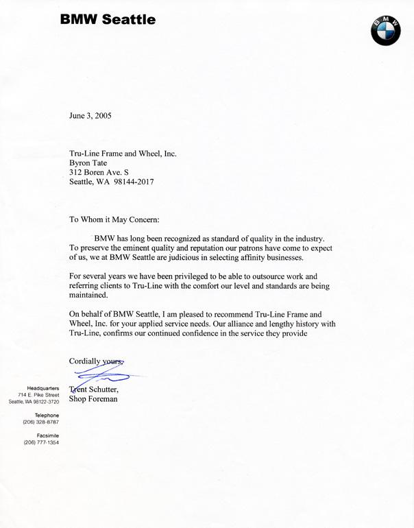 Tru-Line Frame & Wheel, Inc.: BMW Seattle Testimonial